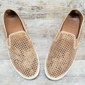 Tory Burch Perforated Suede Slip On Sneakers